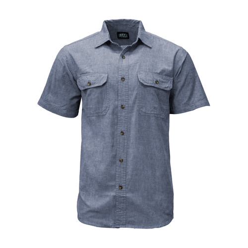 Front of Blue Chambray Short Sleeve Shirt. Item is Cotton Washed, Relaxed Fit, has Pocket Flaps, Pencil Slot, and Button Adjustable Cuffs