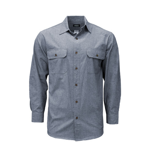 Blue Chambray Long Sleeve Shirt Cotton Washed Relaxed Fit Pocket Flaps Pencil Slot Button Adjustable Cuffs