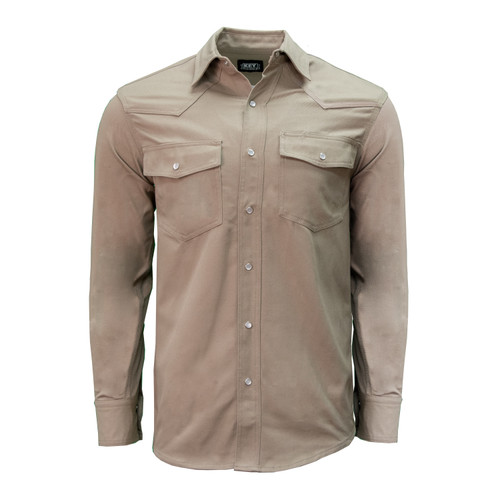 Front of Long Sleeve Western Welder's Shirt. A Heavyweight Relaxed Fit shirt with Pocket Flaps, Pencil Slot, and Pearl Snaps.