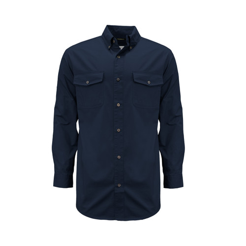 Liberty Long Sleeve Work Shirt Cotton Twill Front Chest Pocket Button Down Collar Enamel Buttons Wrinkle Resistant