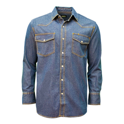 Long Sleeve Denim Western Shirt Washed Relaxed Fit Pocket Flaps Pencil Slot Pearl Snap