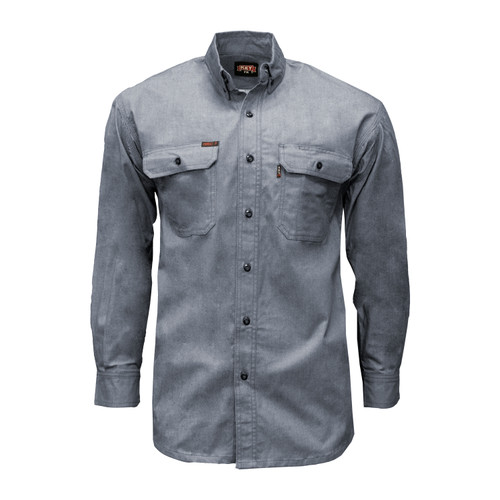 FR Chambray Shirt - NFPA 2112  Cotton High Tenacity Nylon Relaxed Fit Button-Down Collar Banded Collar Adjustable Cuffs Melamine HRC Level 2 ARC Rating 9.2 NFPA 2112 Certified