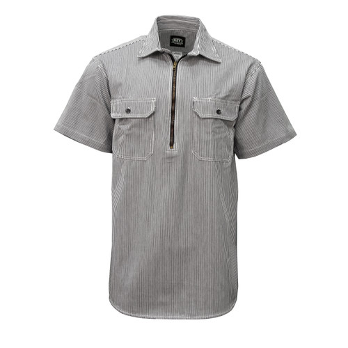 Hickory Stripe Short Sleeve Zip Front Logger Shirt Relaxed Fit Pocket Flaps Pencil Slot