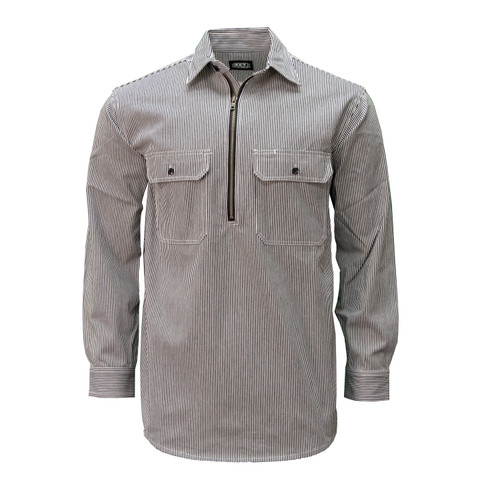Hickory Stripe Long Sleeve Zip Front Logger Shirt Relaxed Fit Pocket Flaps Pencil Slot Adjustable Cuffs