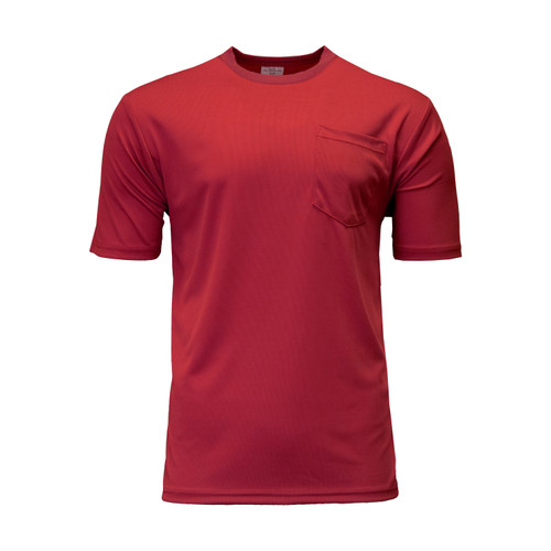 Performance Comfort Short Sleeve T-Shirt Pocket Polyester Moisture Wicking Crew Neck
