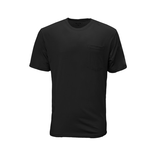 Blended Short Sleeve T-Shirt Cotton Polyester Pocket Crew Neck