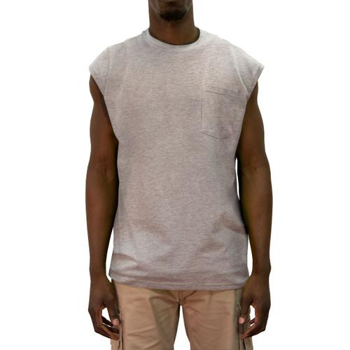 Blended Sleeveless T-Shirt Cotton Polyester Pocket Crew Neck