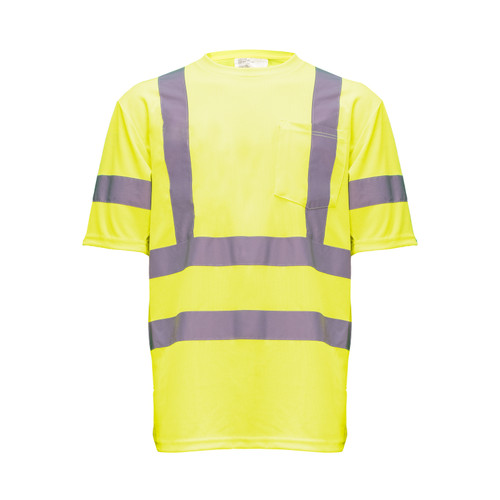 Hi-Visibility Short Sleeve T-Shirt Pocket ANSI Class 3 ISEA 107-2015 Compliant Moisture Wicking Relaxed Reflective
