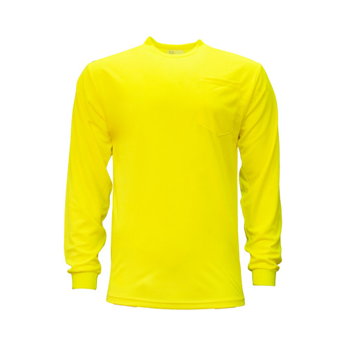 Enhanced Visibility Pocket T-Shirt Long Sleeve Polyester Relaxed Fit Pocket on Left Chest Waffle Weave Fabric Taped Neck Shoulder Seams