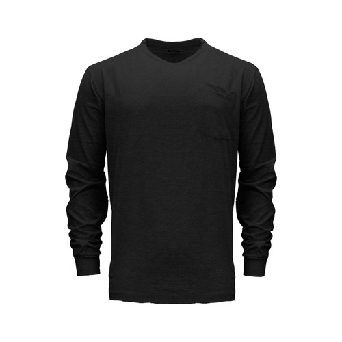 Long Sleeve T-Shirt Heavyweight Pocket Cotton Polyester Crew Neck