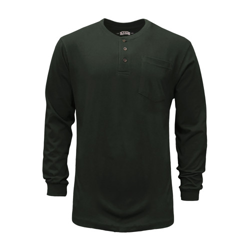 Heavyweight Henley T-Shirt Long Sleeve Cotton Polyester Left Chest Pocket Taped Shoulder Hemmed Knit Cuff