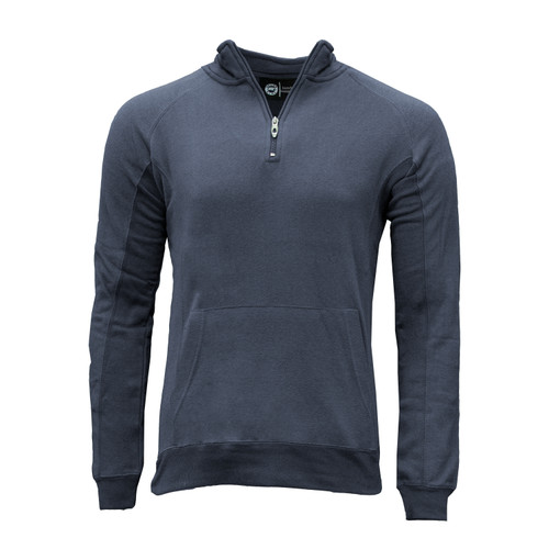 Men's Quarter Zip Pullover Sweatshirt Cotton Polyester Fleece Lining Kangaroo Pocket