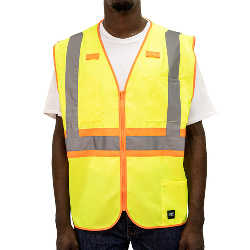 Hi-Visibility Solid Vest ANSI II Class 2 ISEA 107-2015 Compliant Zipper Front Reflective Striping Orange Trim Pockets