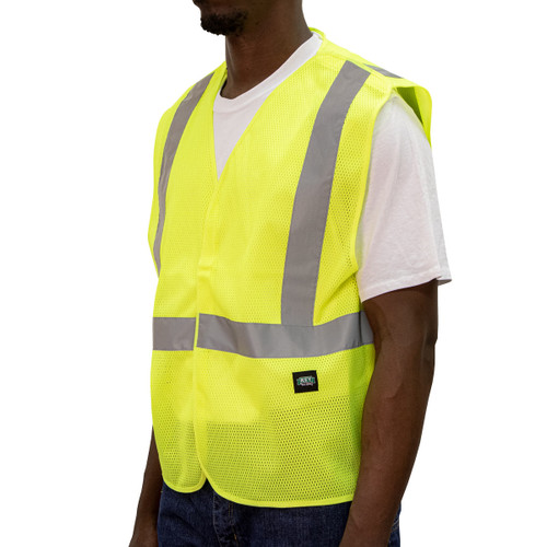 Hi-Visibility Mesh Break-A-Way Vest ANSI II Class 2 ISEA 107-2015 Compliant Velcro Reflective Striping Breathable