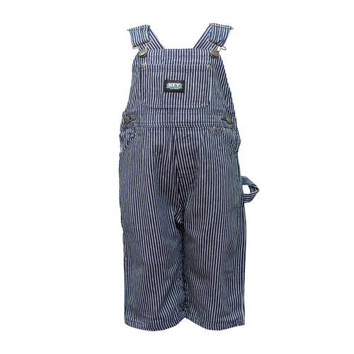 Infant Bib Overall Cotton Washed Hidden Inseam Gripper Closures Utility Pockets Pewter Hardware