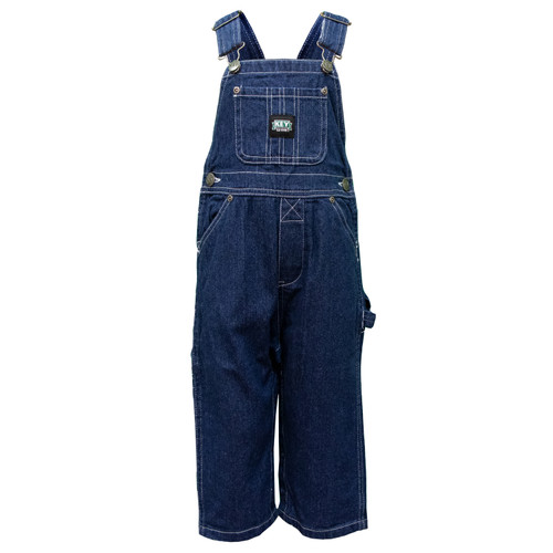 Kid's Bib Overall Cotton Washed Utility Pockets Pewter Hardware Hammer Loop
