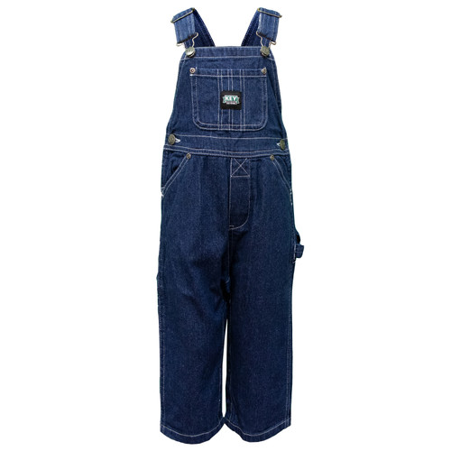 Youth Bib Overall Ring Spun Denim Cotton Washed Utility Pockets Pewter Hardware Hammer Loop