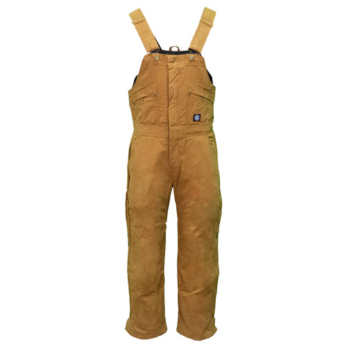 Premium Insulated Bib Overalls Waist Zip  Cotton Duck Fabric Outer Shell Heavyweight Bonded Polyester Fiberfil Insulation Waterproof Heavy Duty Double Utility Pocket
