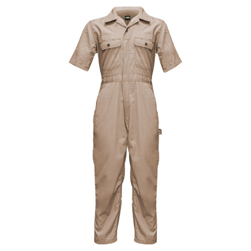 Poplin Unlined Coveralls Short Sleeve Cotton Polyester Water Stain Resistant Relaxed Fit Pleated back Chest Pockets Snap Closure