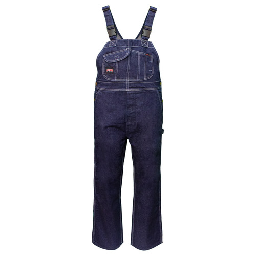 FR Traditional Denim Bib Overalls Cotton Reinforced Pockets Double Bottom Pockets Diamond Back HRC Level 2 ARC Rating 24