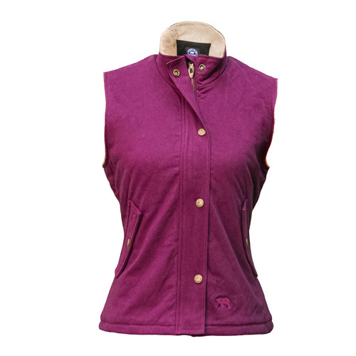 Berber Lined Quilted Vest Mid-weight Twill Shell Fleece Welted Pockets Snap Closure Storm Flap Princess Seams