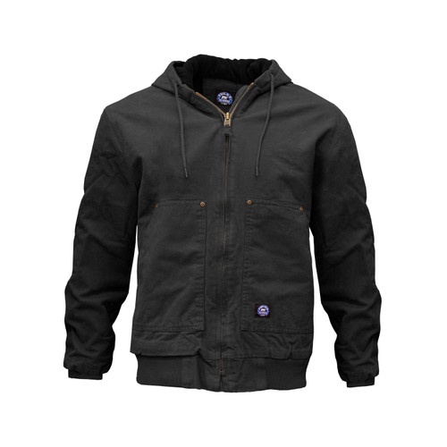 Fleece Lined Hooded Jacket Cotton Brushed Hand Duck Fabric Outer Shell Heavy Duty Front Zipper Taffeta Lined Sleeves