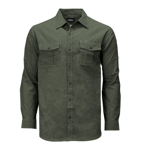 Performance Comfort Long Sleeve Chambray Shirt Cotton Polyester Blend Active Fit Chest Pockets