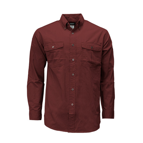 Rip Stop Long Sleeve Shirt Cotton Wrinkle Resistant Button Down Collar