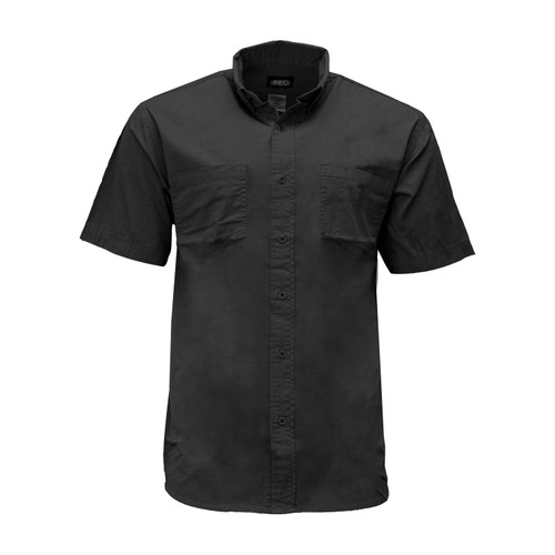 Rip Stop Short Sleeve Shirt Cotton Wrinkle Resistant Button Down Collar