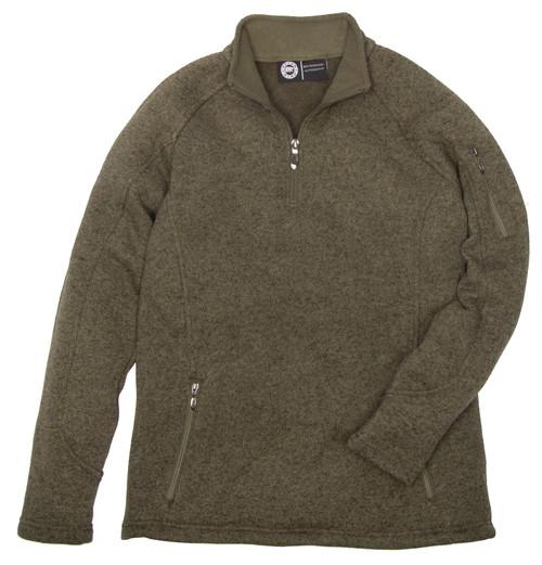 Quarter Zip Sweater Knit Pullover Polyester Ultrasoft Polyester Fleece Lining Lined Collar Hemmed Cuff and Waist