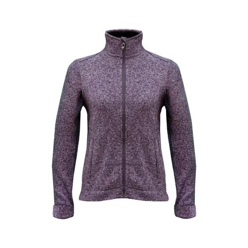 Melange Sweater Knit Jacket Ultrasoft Polyester Fleece Lining Hemmed Cuff Bottom