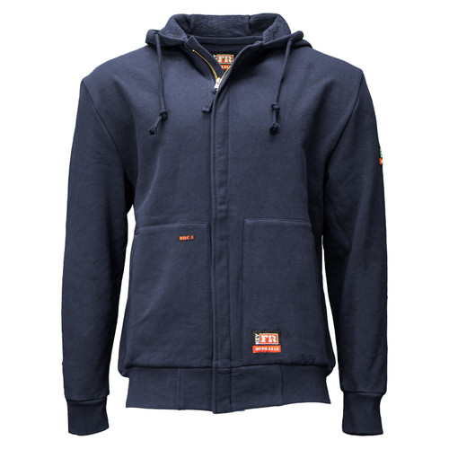 Flame Resistant FR Zip Front Hooded Sweatshirt HRC Level 2 ARC Rating 16.5 NFPA 2112 Certified Cotton Fleece Pockets Heavy-Duty