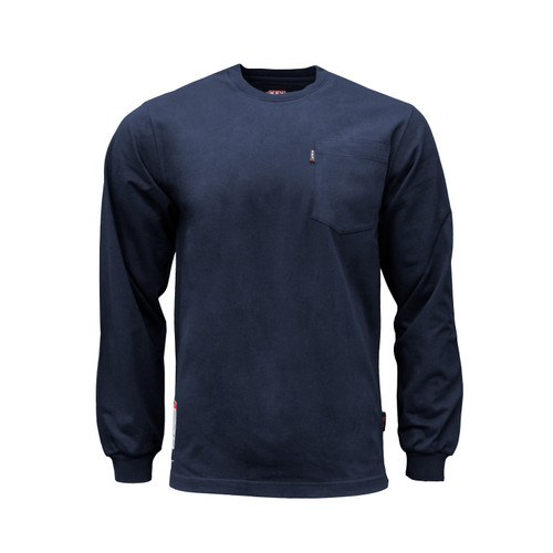 FR T-Shirt  NFPA 2112 Cotton Jersey Pocket Left Chest Knit Cuffs HRC Level 2 ARC Rating 8.6