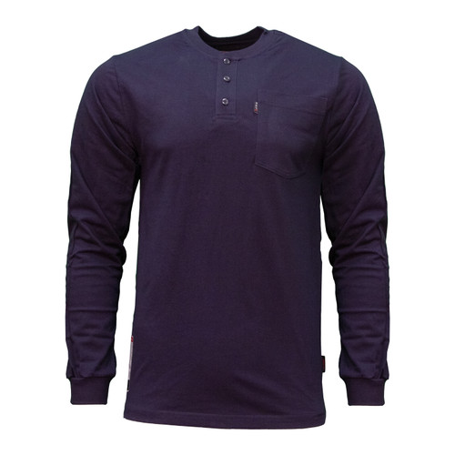 FR Henley Flame Resistant Long Sleeve Cotton Jersey Pocket Left Chest HRC Level 2 ARC Rating 8.6