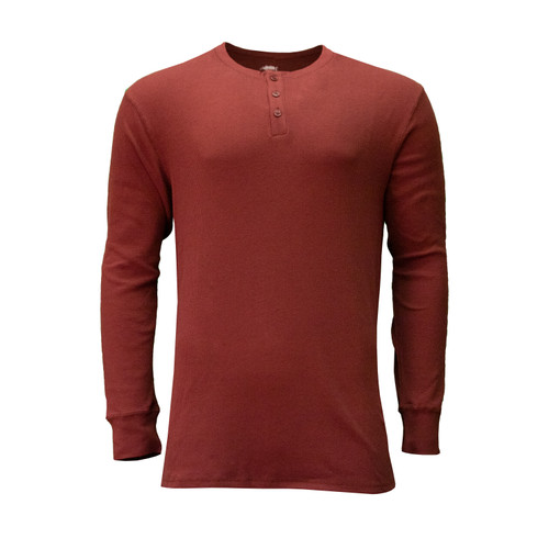 Sleeve Thermal Henley Cotton Polyester Spandex 3-Button Placket Rib Knit Cuffs and Collar Crew Neck