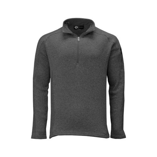 Men's Quarter Zip Sweater Knit Pullover Polyester Fleece Lining Side Seam Gusset Hemmed Cuff Bottom Active Pocket