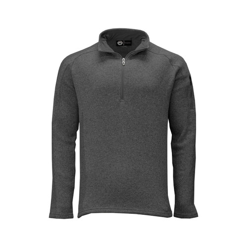 Men's Quarter Zip Sweater Knit Pullover Polyester Fleece Lining Side Seam Gusset Hemmed Cuff Bottom Active Pocket