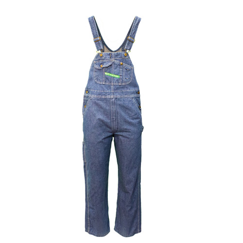 Denim Bib Overall Enzyme Washed Heavyweight Cotton Reinforced Pockets Double Utility Pocket Diamond Back
