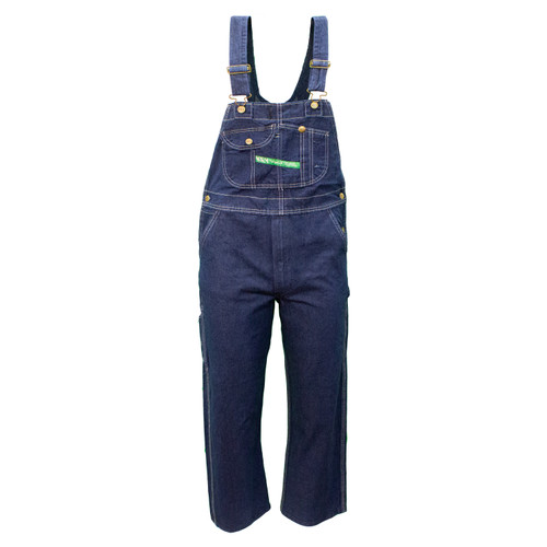 Denim Bib Overall Garment Washed Heavyweight Cotton Reinforced Pockets Double Utility Pocket Diamond Back