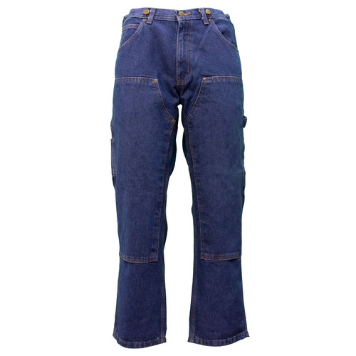 Indigo Denim Logger Dungarees Relaxed Fit Cotton Denim Fabric Enzyme Washed Brass Button Chap Style Suspender Buttons