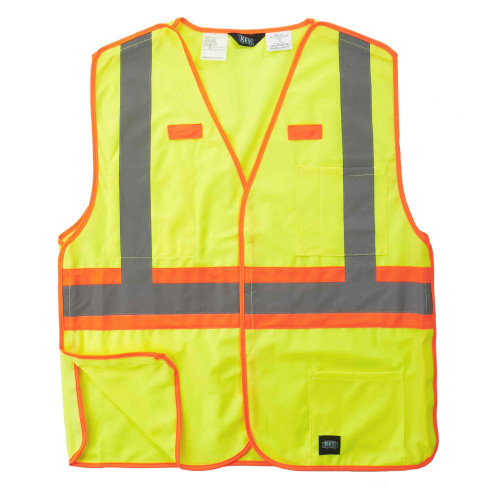 Hi-Visibility Solid Break-A-Way Vest ANSI II Class 2 ISEA 107-2015 Compliant Velcro Reflective Striping Orange Trim