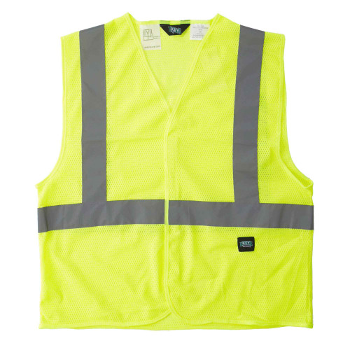 Hi-Visibility Mesh Vest ANSI II Class 2 ISEA 107-2015 Compliant Velcro Front Reflective Striping Breathable