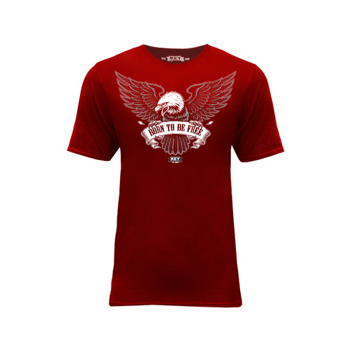 Mens Born To Be Free Graphic Tee Shirt Crew Neck Taped Seams Cotton Polyester