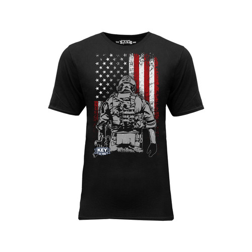 Mens Soldier Graphic Tee Cotton Polyester Crew Neck Taped Seams