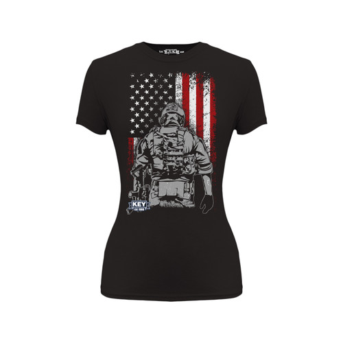 Women's Soldier Graphic Tee Cotton Polyester Crew Neck Taped Seams