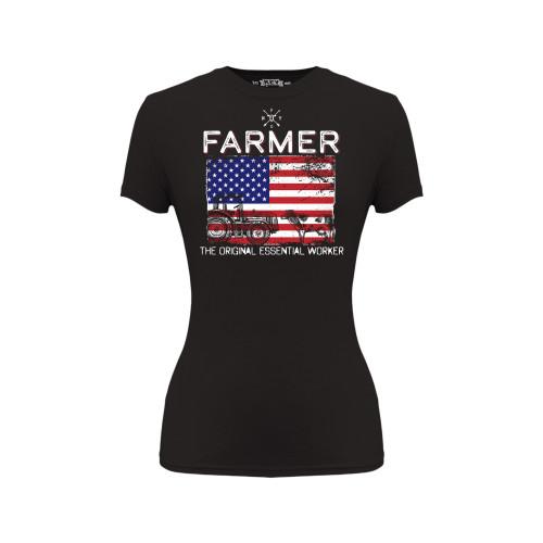 Women's Essential Farmer Tee Cotton Polyester Crew Neck New York Farm Girls Graphic Tee