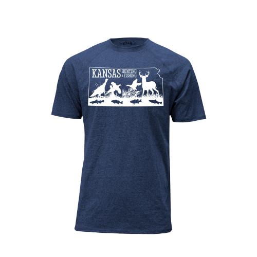 mens kansas hunting fishing logo tee cotton polyester crew neck short sleeve raglan sleeves