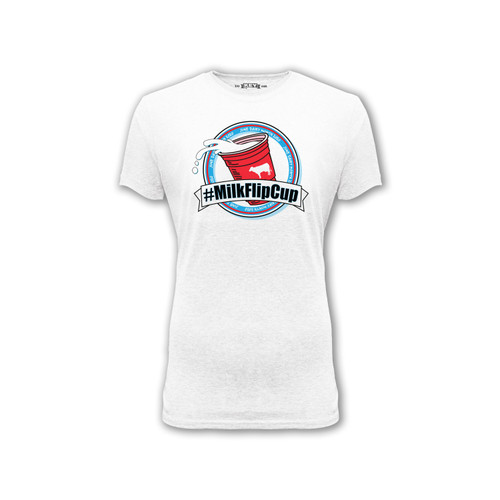 womens milk flip cup graphic tee june dairy month crew neck cotton polyester short sleeve