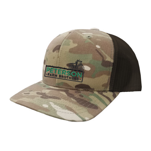 Peterson Brothers Logo Hat Six Panel Camouflage Polyester Cotton Mesh Embroidered Adjustable Snapback Trucker Cap