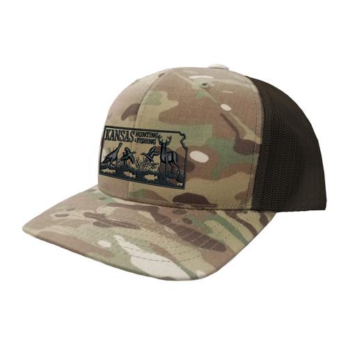 KSHF Logo Hat Six Panel Camouflage Polyester Cotton Mesh Embroidered Adjustable Snapback Trucker Cap